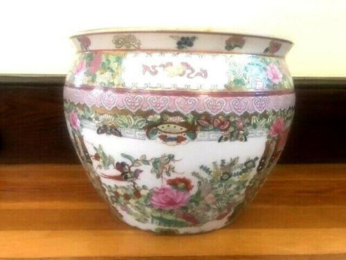 Large Chinese Famille Rose Porcelain Fish Bowl Planter Pot Jardiniere