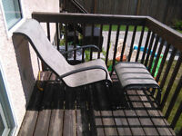 TWO HIGH BACK PATIO LOUNGER CHAIRS WITH MATCHING STOOLS GC