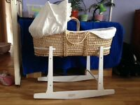 Moses basket with stand and hypoallergenic tick mattress