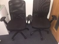 Set of Two Black Matching office chairs on wheels