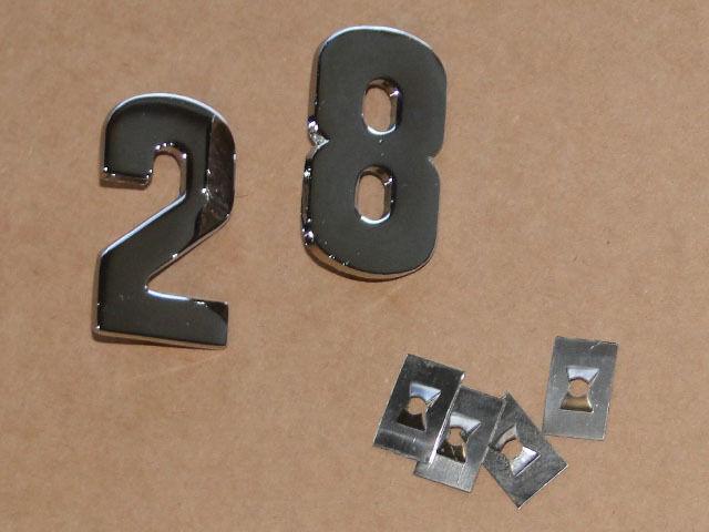 PS Zahlen für Lanz Bulldog D 2816 aus Metall verchromt auf die Motorhaube Foto 1