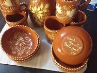 Terracotta hand-made sangria jug & cup set