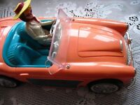 ORANGE AUSTIN HEALEY BARBIE DOLL CAR RADIO,ALARM,TIME,AC/BATT