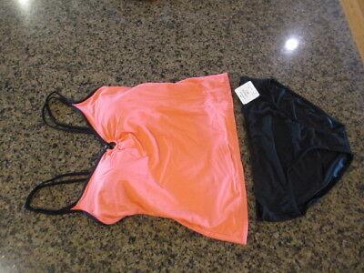 Mainstream Womens 2 pc Pink black bikini Full Coverage Tankini Swimsuit Set 10