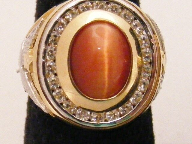 14K SOLID GOLD MENS RING  WITH OVAL TIGERS EYE AND CZ