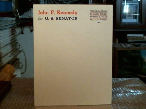 JOHN F. KENNEDY FOR U.S. SENATOR ORIGINAL VINTAGE RARE CAMPAIGN LETTERHEAD -1952