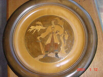 INLAID WOOD MARQUETRY PICTURE US ZONE DP CAMP KLEINKOTZ GERMANY POST WW2