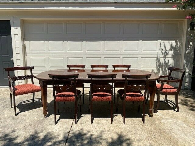 ANTIQUE ENGLISH REGENCY DINING TABLE w/ LEAVES & 8 UPHOLSTERED CHAIRS!