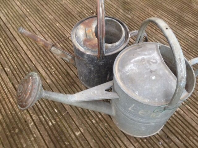 Old Watering Cans One As Copper Rose Bargain For Both