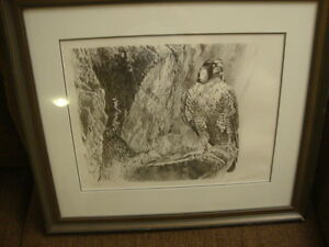 Robert Bateman Falcon on a cliff Stone Lithograph