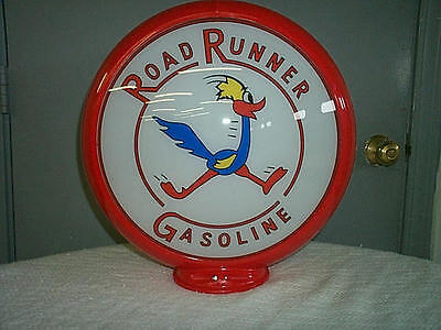 gas pump globe Road Runner reproduction 2 GLASS LENSES in a RED plastic body