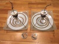 2 x Glass pendant lights