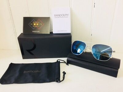 RANDOLPH AF158 AVIATOR Matte Chrome w/Blue Flash 55mm Lenses Suns $219 (Randolph Aviator Glasses)