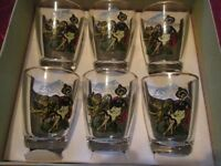 VINTAGE/RETRO WELSH SHOT GLASSES SET OF 6