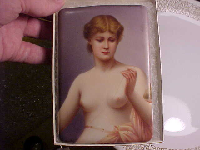 Antique German hand painted porcelain plaque signed Sontag