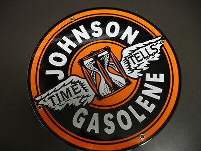 Johnson Oil Gas Gasoline Porcelain Advertising Sign
