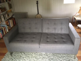 GREY 100% wool Sofa seats 3 persons . Excellent condition W160, H79, D80. Chrome frame/legs