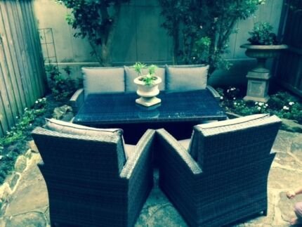 Outdoor setting - table, chairs & foot stools Mosman Mosman Area Preview