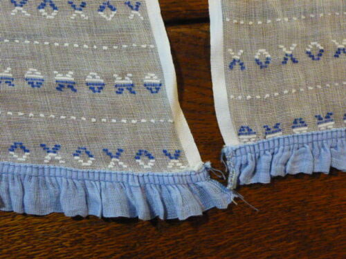 Vintage Pair of Woven  Lace Curtain Panels X