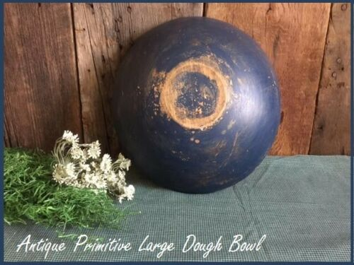 Primitive Antique Large Wood Dough Bowl Warm Patina Country Rustic Farmhouse
