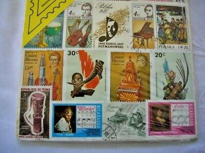 MUSIC STAMPS COLLECTION OF 25 STAMPS CHAD GUINE BISSAU POLSKA MAGYAR