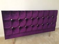 Headboard for Double Bed - Purple Velvet