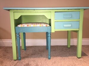 Beautiful Painted Kids Desk and Stool