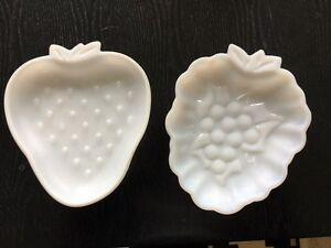 Milk Glass - 2 x fruit shaped plates