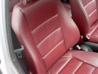 Audi A2 Sport red LEATHER electric seats interior door cards steering wheel