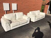3 & 2 Seater Cream Leather Sofa Suite