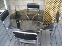 VINTAGE RETRO SMOKED GLASS ROUND TABLE & 4 ORIGINAL CHAIRS SOUDEX VYNYL
