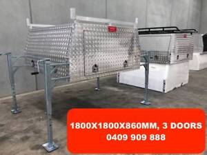 """Dual Cab Jack Off Checker plate Alloy Canopy 3 Doors"""""""