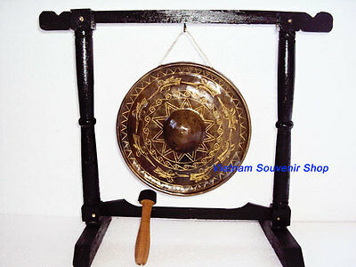 Hand Carved Vietnam Brass Gong -Sculpture Pattern of BRONZE DONG SON KETTLE DRUM