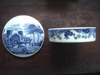 Blue and White 'Willow' pattern Pot lid China, chinese style super Jar