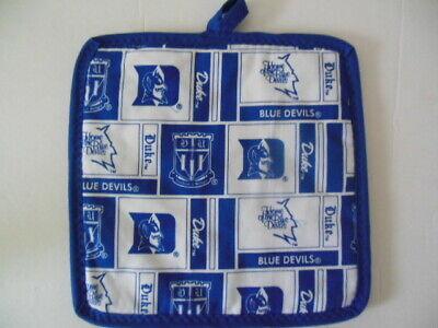 "NCAA, 1 DUKE Blue Devils fabric potholder - NEW,  handcrafted, 8""x8"""