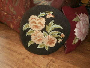 Hand Hooked Pansy Seat Pad 15""