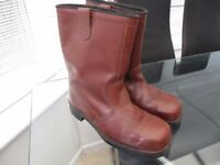 Mens Leather Rigger boots size 10 dark tan