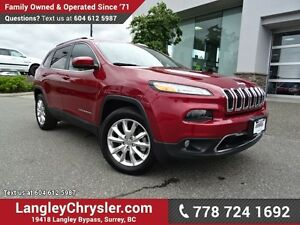 2016 Jeep Cherokee Limited W/ 4X4, LEATHER UPHOLSTERY & NAVIG...