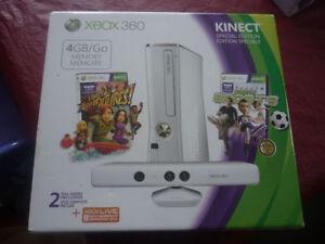 XBOX 360  avec kinect, 2 Manettes, Casque neuf + 10 jeux
