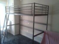 IKEA Loft bed frame, Single high sleeper bed SVARTA - 200 cm x 90 cm