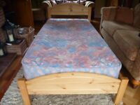 Single Pine Bed & Mattress in Excellent condition
