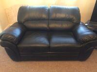 3 & 2 seater Black Leather Sofas