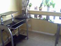 black smoke glass computer desk