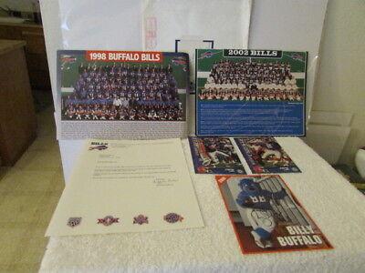 Lot of 3 Chicago Bills Team Photo & Cards Letter Mascot Signed Card  Buffalo Bills Team Mascot Football
