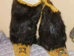 Native Moose Hide Mukluks, mitts, Slippers