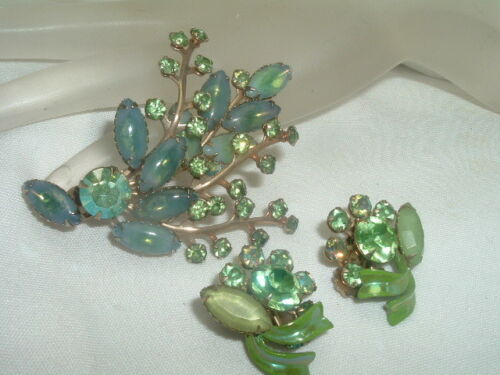 Estate Vintage Green Moonstone and Rhinestone Pin & Clip Earring Set in Gift Box