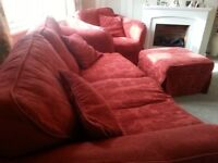 3 Seater Sofa, Armchair, Footstool, cushions, and spare set washable covers