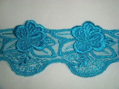 Turquoise Lace ( Embroidered Turquoise Floral Tulle Lace Trim 1 7/8)