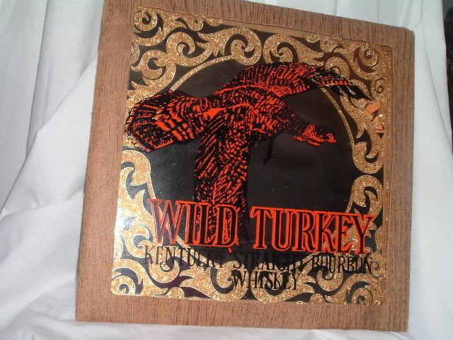 VTG FRAMED GLASS PICTURE MIRROR WILD TURKEY 101 PROOF KENTUCKY BOURBON WHISKEY