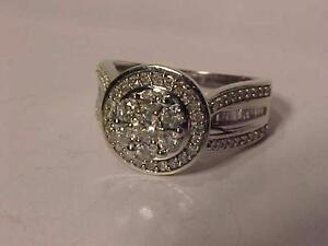 #888-10k WHITE GOLD ENGAGEMENT DIAMOND(0.90ct) RING Size 7-APPRAISED VALUE $3,000.00-APPRAISAL INCLUDED-